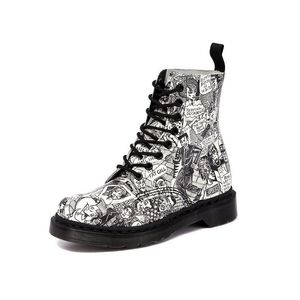 RARE Dr Martens 1460 X Mark Wigan Party People Comic Moto Boot Size 8
